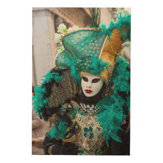 Teal Carnival Costume, Venice Wood Wall Art