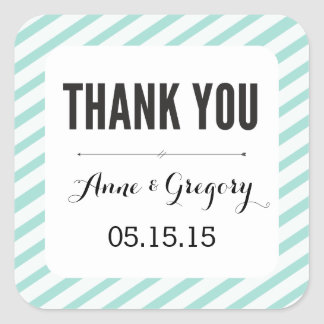 Teal Carnival Stripes Thank You Favor Stickers