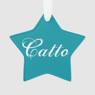 "Teal ""Catto"" Star Ornament"