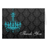 Teal Chandelier Black Damask Thank You Note