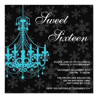 Teal Chandelier Black Snowflakes Sweet 16 Birthday 13 Cm X 13 Cm Square Invitation Card