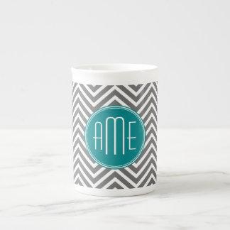 Teal Charcoal Chevrons Custom Monogram Tea Cup