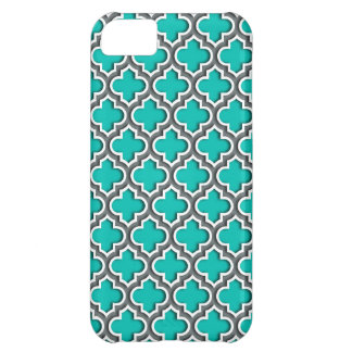 Teal Charcoal Gray White Moroccan Quatrefoil #5DS iPhone 5C Case
