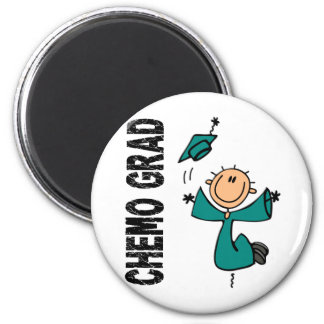 Teal CHEMO GRAD 1 (Ovarian Cancer) 6 Cm Round Magnet