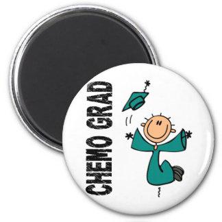 Teal CHEMO GRAD 1 (Ovarian Cancer) 6 Cm Round Magnet