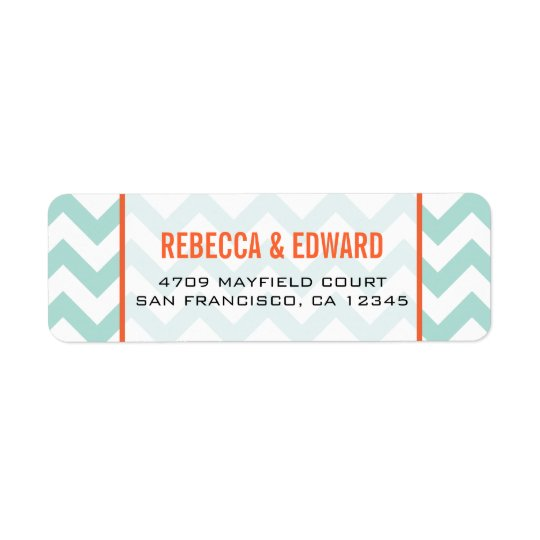 Teal Chevron Address Label