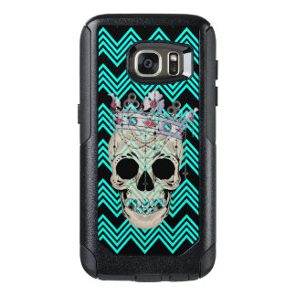 Teal chevron and skull S7 Otterbox case