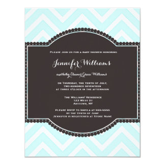Teal chevron baby shower invitations