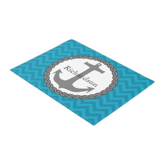 Teal Chevron Nautical Anchor Personalized Doormat