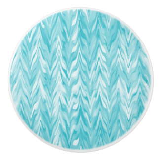 Teal Chevron Pattern Ceramic Door/Drawer Pull/Knob Ceramic Knob