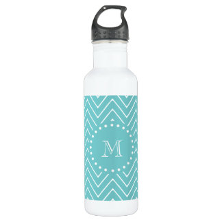 Teal Chevron Pattern | Teal Monogram 710 Ml Water Bottle