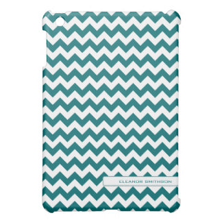 Teal Chevron Personalized iPad Mini Cover