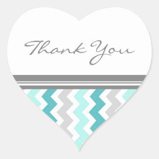 Teal Chevrons Thank You Wedding Envelope Seals Heart Sticker