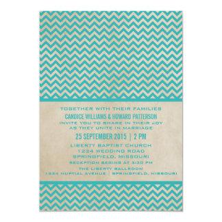 Teal Chic Chevron Wedding Invite