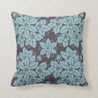 Teal Choco Floral Decorative Pillow