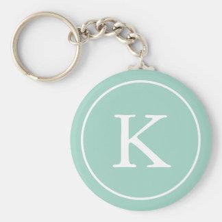 Teal Circle | Monogram Initial Basic Round Button Key Ring