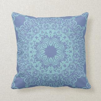 Teal Circular Spritual Pattern Cushion