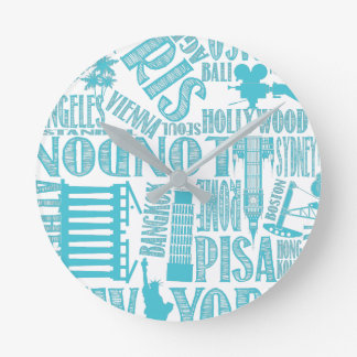 Teal, Cities around the world clock