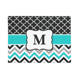 Teal Clover Chevron Monogram Doormat