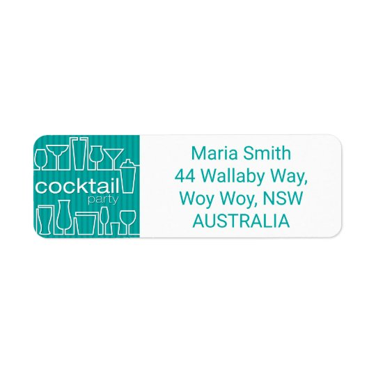 Teal cocktail party return address label