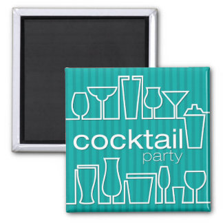 Teal cocktail party square magnet