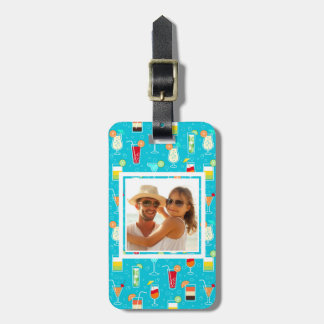 Teal Cocktail Pattern | Add Your Photo Luggage Tag