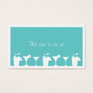 Teal cocktail wedding event custom drink ticket