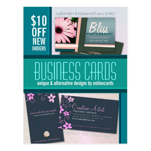 Teal ColorBlock Photo template Business Postcard