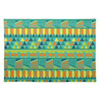 Teal Colorful Abstract Aztec Tribal Print Pattern Placemats