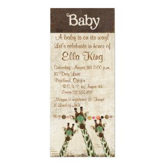 "Teal & Copper  Giraffes Baby Invitation 4"" X 9.25"" Invitation Card"