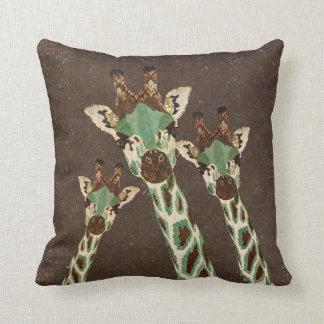 Teal Copper Giraffes Damask MoJo Pillow