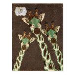 Teal & Copper  Giraffes Monogram Postcard