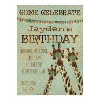 Teal Copper Giraffes Stars Birthday Invitation