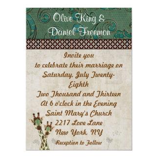 "Teal & Copper Giraffes  Wedding Invitation 6.5"" X 8.75"" Invitation Card"