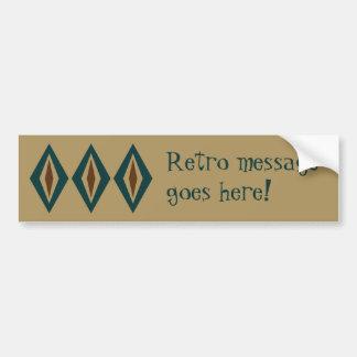 Teal & Copper Retro Diamond Trio Car Bumper Sticker
