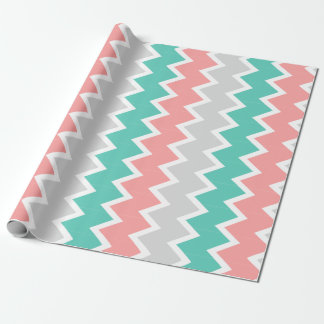 Teal, coral, and gray chevron wrapping paper