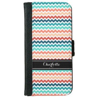 Teal Coral Chevron Pattern Monogram iPhone 6 Wallet Case