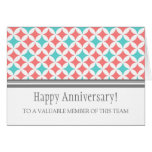 Teal Coral Circles Employee Anniversary Card