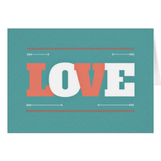 Teal & Coral Valentine Love Notecards Card