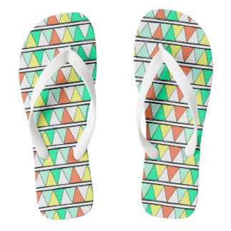 Teal Coral Yellow and White Zigzag Pattern Thongs