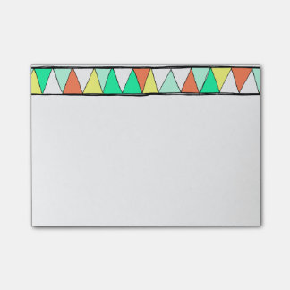 Teal Coral Yellow Zigzag Triangle Post-It Notes