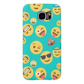 Teal Crazy Emoji Pattern Samsung Galaxy S6 Cases