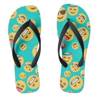 Teal Crazy Emoji Pattern Thongs