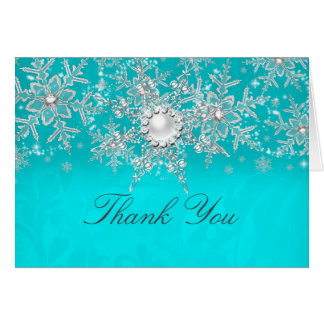 Teal Crystal Pearl Snowflake Silver Thank You Card