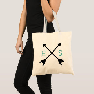 Teal Custom Initial Monogram Bag + Crossed Arrows