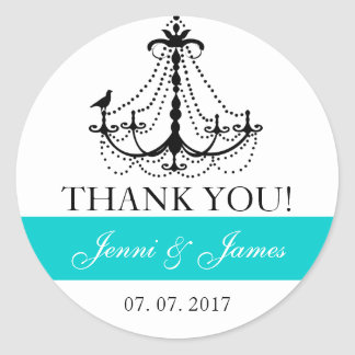 Teal Cute Chandelier Wedding Favor Thank You Classic Round Sticker