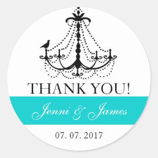 Teal Cute Chandelier Wedding Favor Thank You Round Sticker