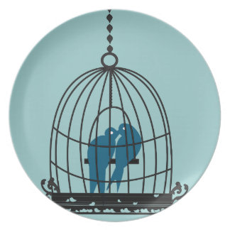 Teal Cute Kissing Love Birds Sitting in a Bird Cag Plate