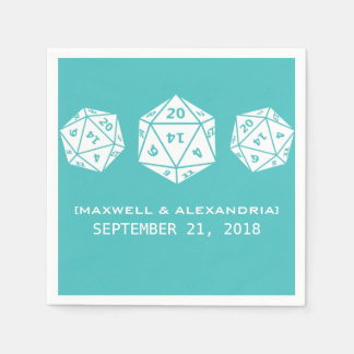Teal D20 Dice Gamer Wedding Paper Napkins