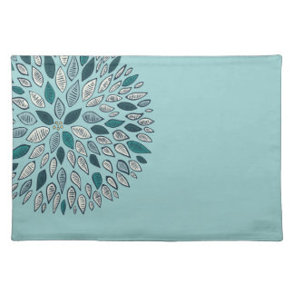 Teal Dahlia Flower Placemat